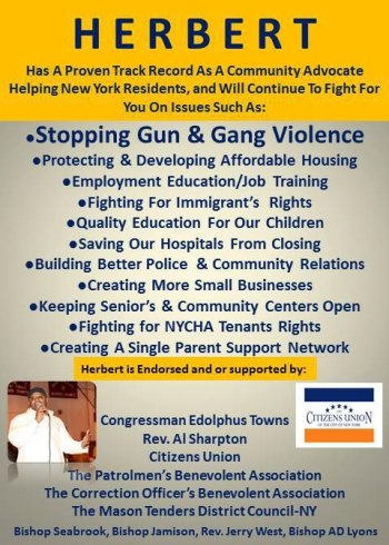 "Though Herbert claims to work for ""stopping gun and gang violence"" as his first priority in a campaign ad, he wants us to ignore his ties to the most powerful gun toting gang in New York City: the NYPD."